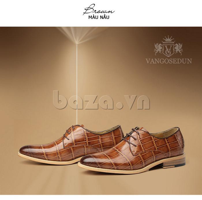 Giày da nam VANGOSEDUN Y1021 hoa văn cá sấu lịch lãm