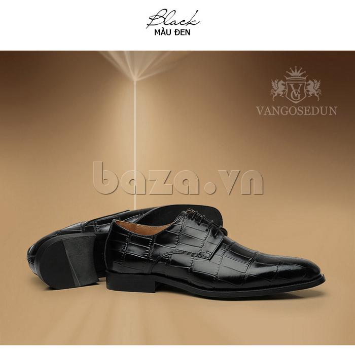 Giày da nam VANGOSEDUN Y1021 hoa văn cá sấu màu đn đẹp mắt