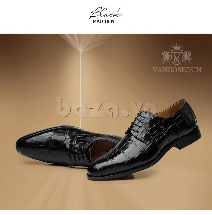 Giày da nam VANGOSEDUN Y1021 hoa văn cá sấu mạnh mẽ