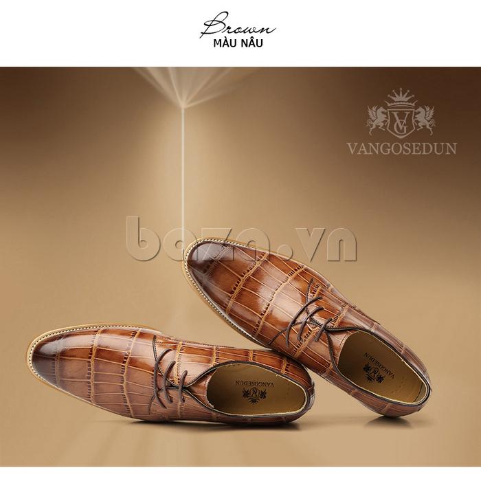 Giày da nam VANGOSEDUN Y1021 hoa văn cá sấu là món quà của nam giới
