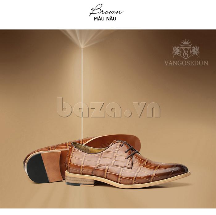 Giày da nam VANGOSEDUN Y1021 hoa văn cá sấu thiết kế vân độc đáo