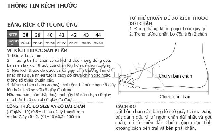 thông tin kích thước của Giày da nam VANGOSEDUN Y1021 hoa văn cá sấu