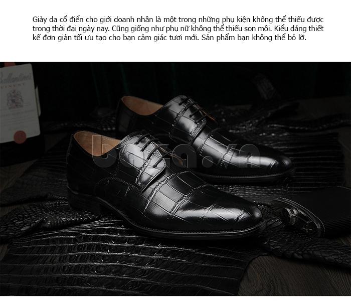 Giày da nam VANGOSEDUN Y1021 hoa văn cá sấu được thiết kế cổ điển
