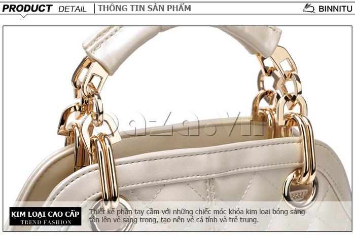 Túi xách nữ Binnitu B51279 móc khóa kim loại sáng bóng