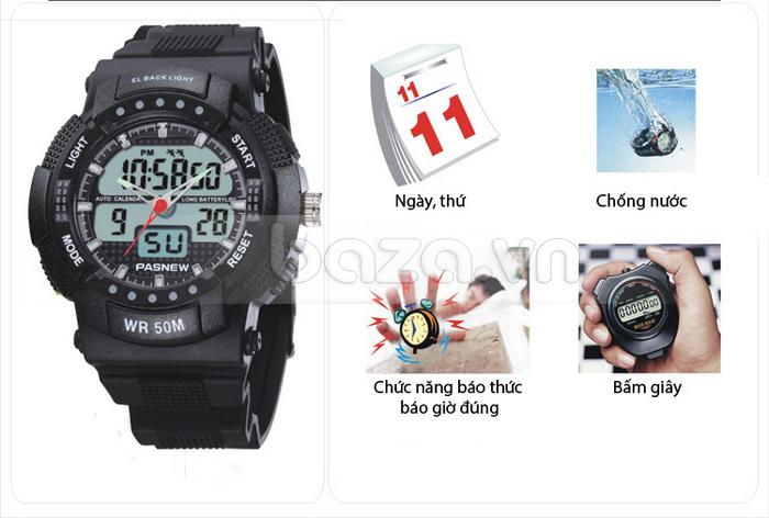 Đồng hồ thể thao PASNEW thời trang với mặt số đa chức năng