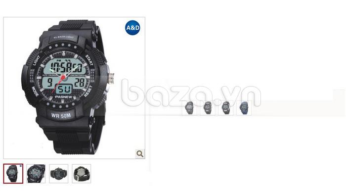 Đồng hồ thể thao PASNEW thời trang với mặt số hiện đại