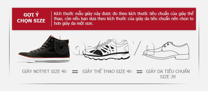 Kích thước giày được đo theo kích thước tiêu chuẩn của giày thể thao nam