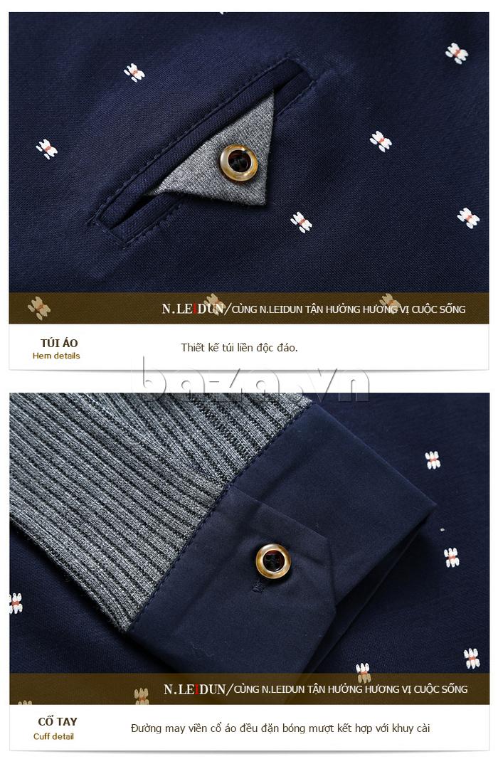 Áo len nam Nleidun S1010 kiểu dáng sơ mi sang trọng, lịch lãm