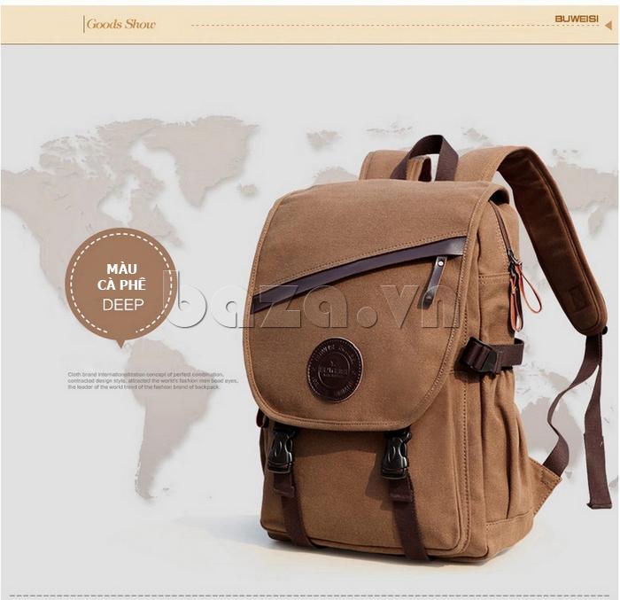 Túi đeo balo khóa chéo Buweisi S051 màu cà phê