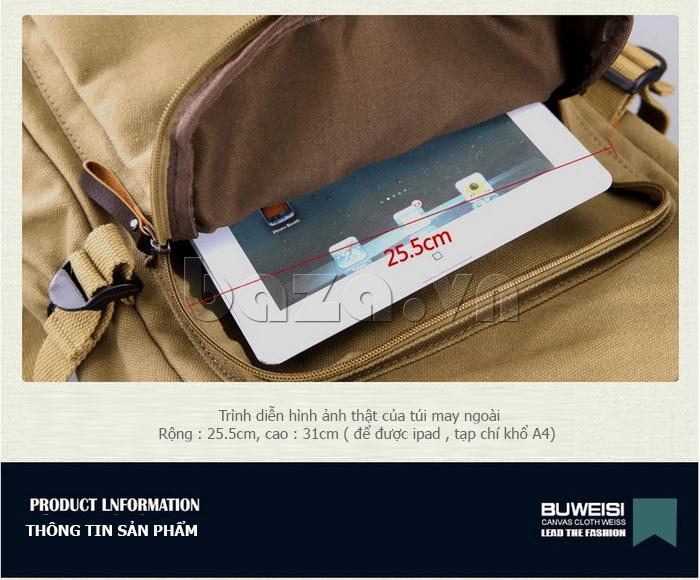 Túi đeo balo khóa chéo Buweisi S051 chứa được ipad