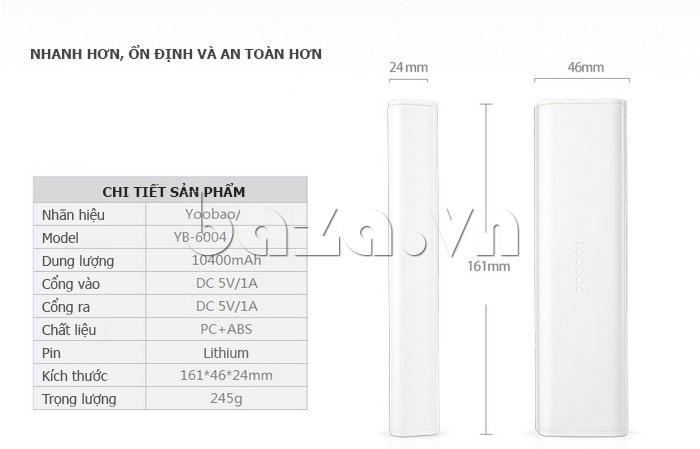 Thiết bị pin dự phòng di động 10400mAh Yoobao YB-6004 sạc nhanh hơn