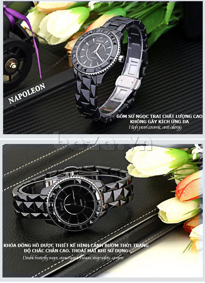 """Đồng hồ nữ """" Đồng hồ nữ thời trang Pinch 6001 """"  gốm sứ ngọc trai chất lượng cao"""