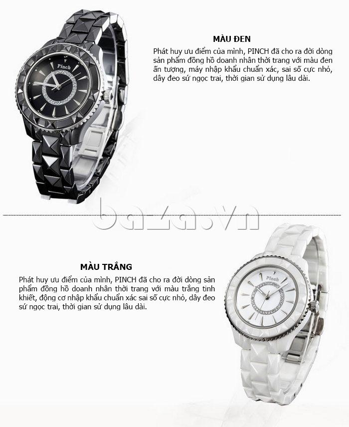 """Đồng hồ nữ """" Đồng hồ nữ thời trang Pinch 6001 """"  màu đen ấn tượng, trắng tinh khiết"""