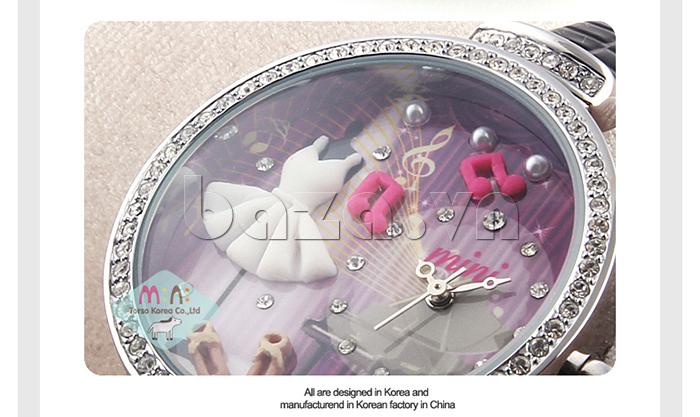 Đồng hồ nữ Mini MN915 đêm nhạc dạ hội họa tiết gốm an toàn và thân thiện