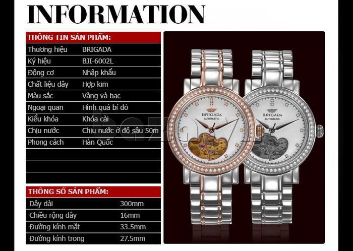 Đồng hồ nữ Brigada 6002 thời trang