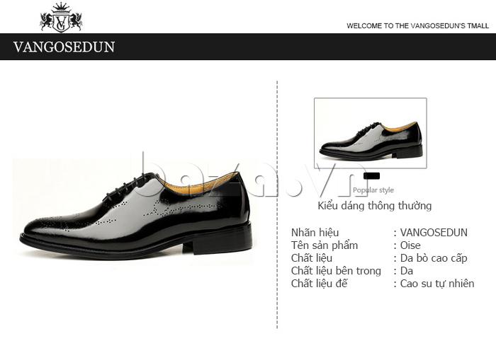 kiểu dáng của Giày da nam VANGOSEDUN VG6010