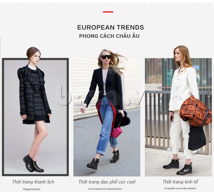 cách phối hợp đồ với Giày Chelsea boots nữ cổthấp Acesc 1589