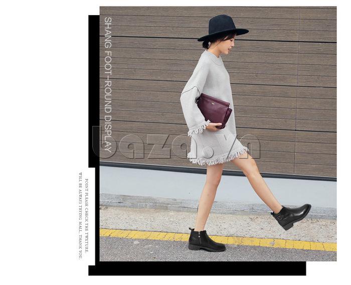Giày Chelsea boots nữ cổthấp Acesc 1589 phong cách đường phố
