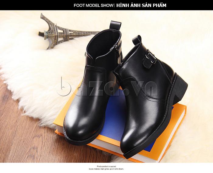 Giày Chelsea boots nữ cổthấp Acesc 1589 móc khóa trang trí