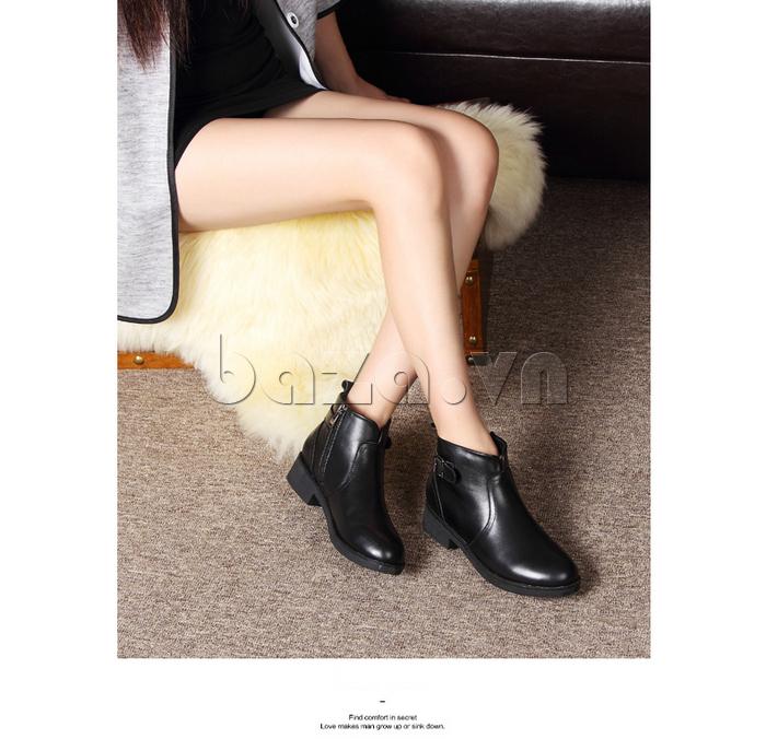Giày Chelsea boots nữ cổthấp Acesc 1589 khóa kéo ở cổ chân