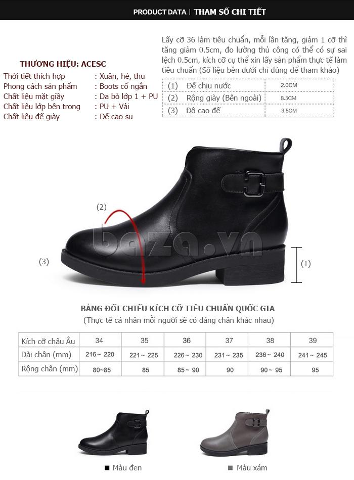 kích thước Giày Chelsea boots nữ cổthấp Acesc 1589