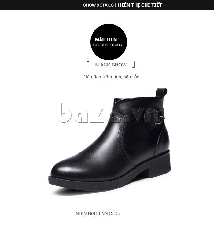 mặt nghiêng của Giày Chelsea boots nữ cổthấp Acesc 1589 màu đen