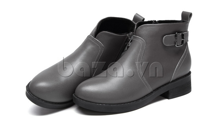 Giày Chelsea boots nữ cổthấp Acesc 1589 màu xám