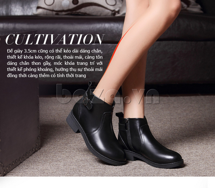 đế Giày Chelsea boots nữ cổthấp Acesc 1589 cao 3,5 cm
