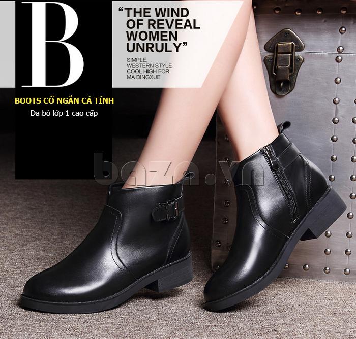 Giày Chelsea boots nữ cổthấp Acesc 1589 cá tính