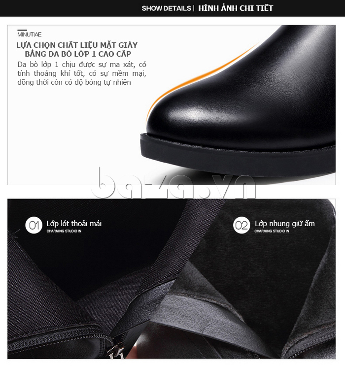 lớp lót thoải mái của Giày Chelsea boots nữ cổthấp Acesc 1589