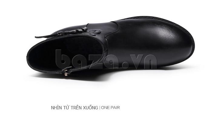 Giày Chelsea boots nữ cổthấp Acesc 1589 màu đen da bò