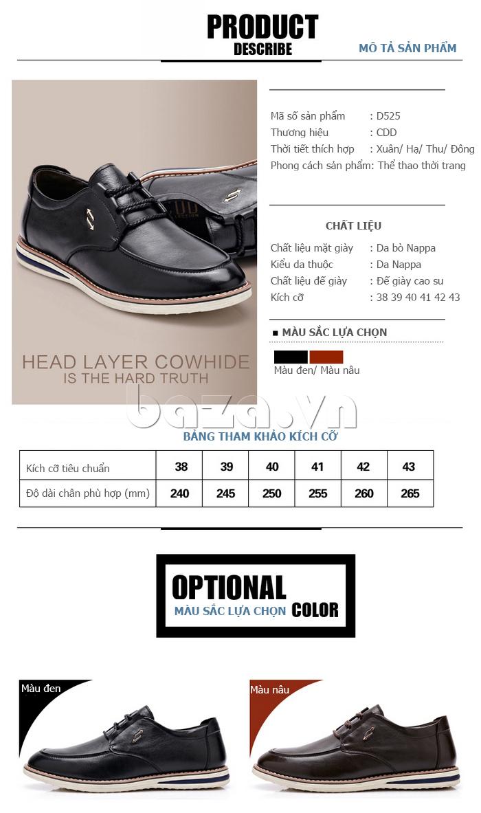Bảng kích thước của Giày da nam phong cách Urban CDD D733