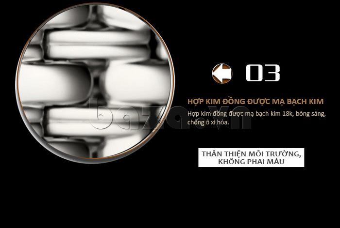 Dây đeo đồng hồ chất liệu hợp kim đồng mạ bạch kim 18k bóng sáng, chống oxy hóa