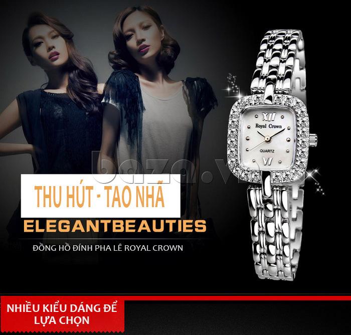 Đồng hồ nữ đính pha lê Royal Crown vô cùng thu hút