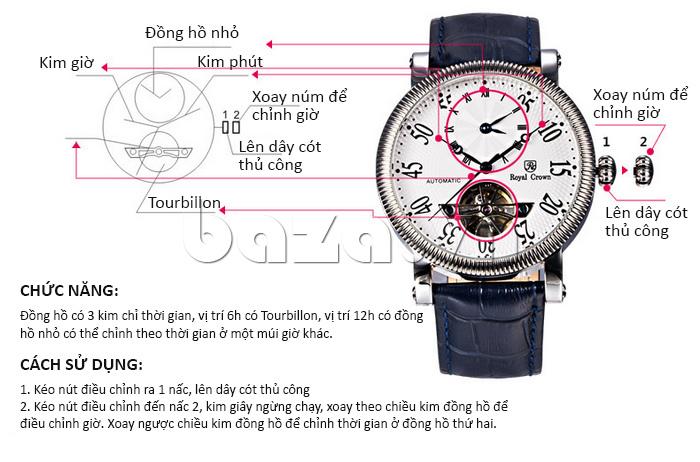Đồng hồ cơ Royal Crown 8306 thiết kế mạnh mẽ