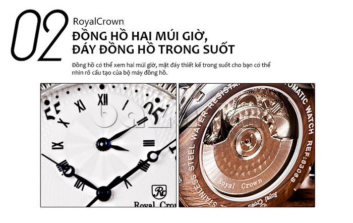 Đồng hồ cơ Royal Crown 8306 có 2 múi giờ\