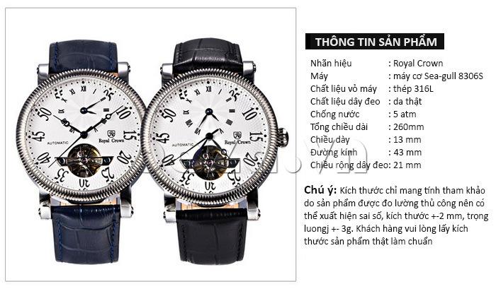 Đồng hồ cơ Royal Crown 8306 thông tin sản phẩm