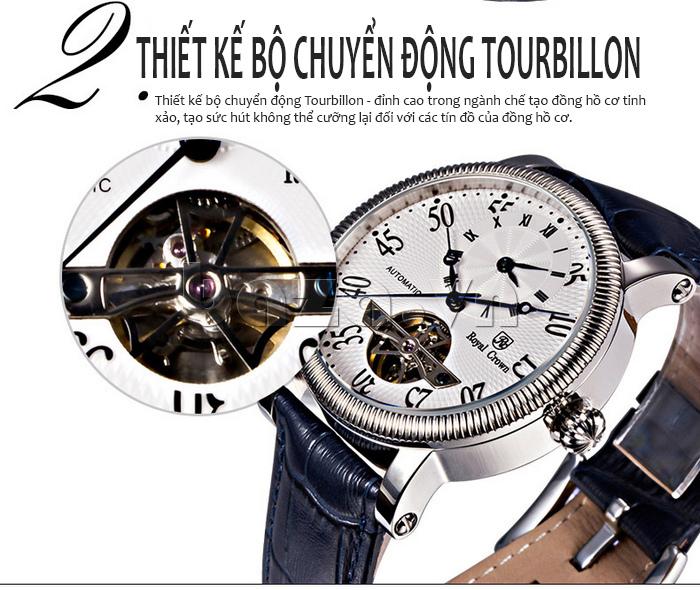 Đồng hồ cơ Royal Crown 8306 thiết kế độc đáo