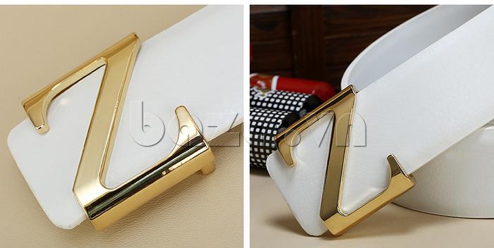 Dây lưng nam Feayoo FY-D059 dây trắng mặt khóa vàng