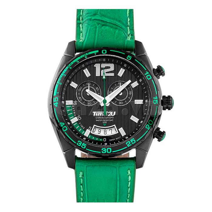 Đồng hồ nam Time2U 9318880 dây da xanh lá