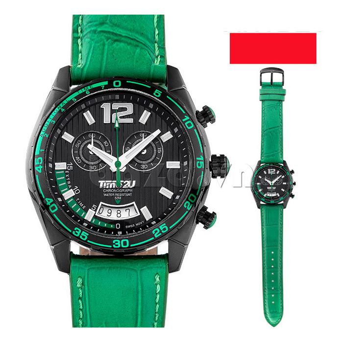 Đồng hồ nam Time2U 9318880  dây xanh thời trang