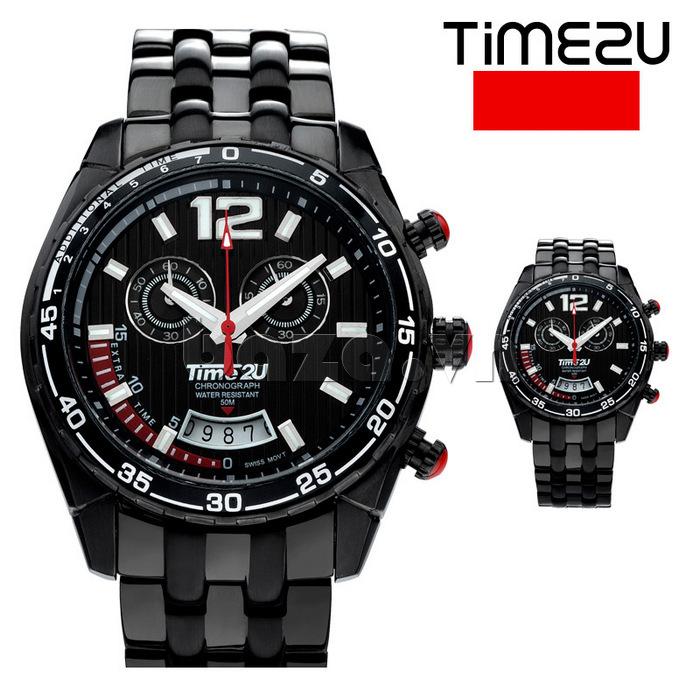Đồng hồ nam Time2U 9318880 mặt đen sang trọng