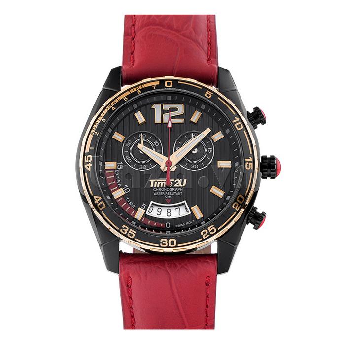 Đồng hồ nam Time2U 9318880  dây da đỏ
