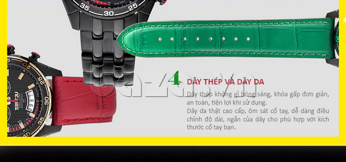 Đồng hồ nam Time2U 9318880 có cả loại dây đeo da và dây thép