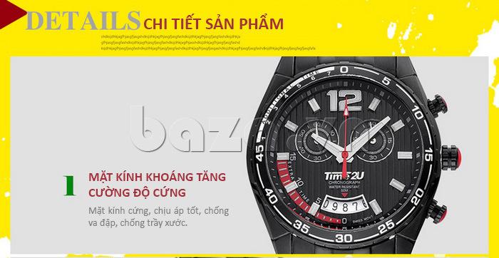 Đồng hồ nam Time2U 9318880 sử dụng mặt kính tăng cường độ cứng
