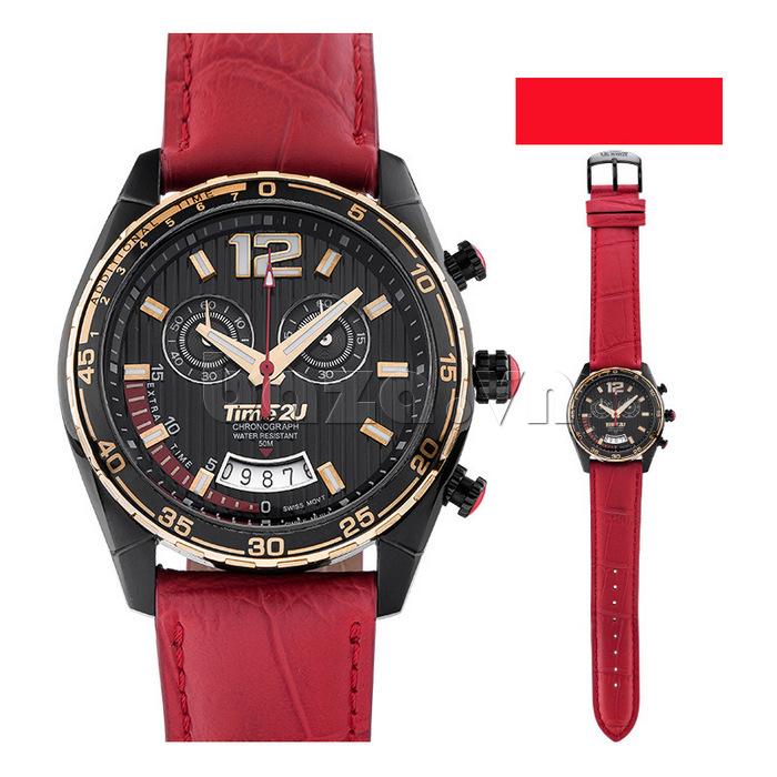 Đồng hồ nam Time2U 9318880 dây đỏ cá tính