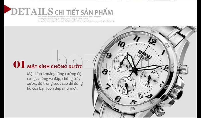 Đồng hồ nam thời trang Time2U thiết kế mặt kính chống xước