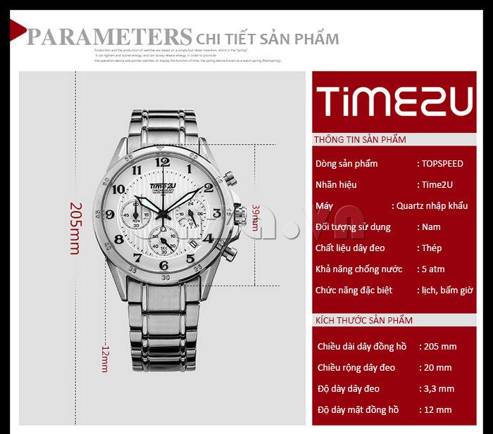 Đồng hồ nam thời trang Time2U thông tin sản phẩm