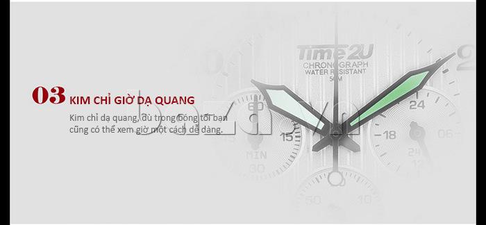 Đồng hồ nam thời trang Time2U thiết kế kim chỉ giờ dạ quang