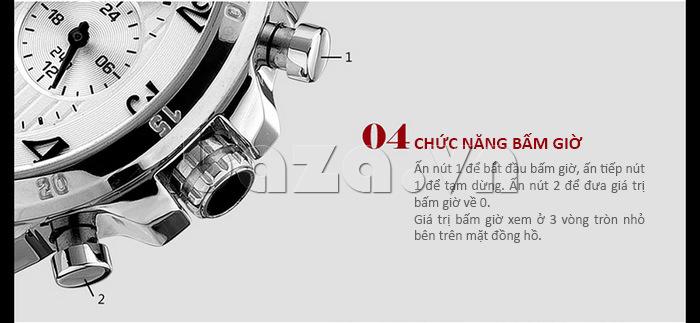 Đồng hồ nam thời trang Time2U có chức năng bấm giờ